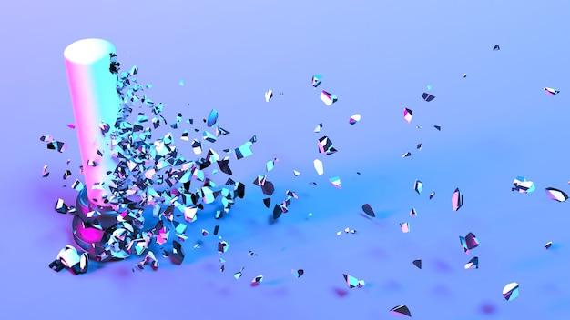 Sacco da boxe in illuminazione al neon viola che cade in piccoli pezzi, illustrazione 3d