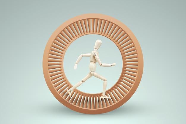 Un burattino burattino corre in una ruota di criceto. il concetto di liberazione dalla schiavitù, vita, affari, manipolazione, controllo, lavoro.