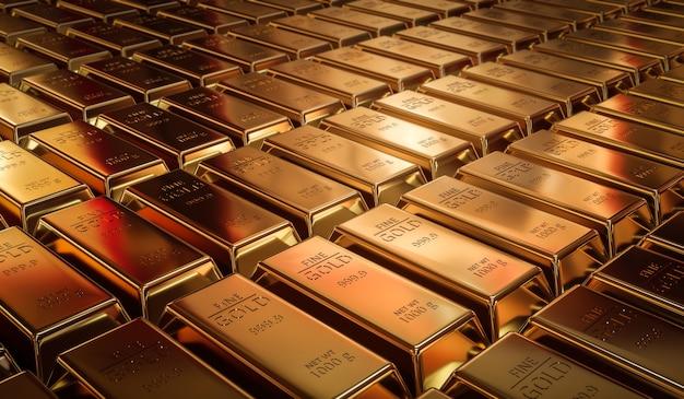 Lingotti d'oro puro e concetto di valuta di finanza su sfondo tesoro d'oro con investimenti aziendali. rendering 3d.