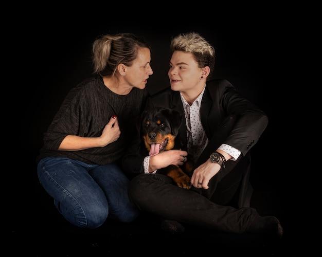 Rottweiler di razza e famiglia