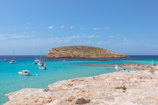L'acqua color smeraldo più pura al largo della costa di cala comte, spiaggia cala escondida