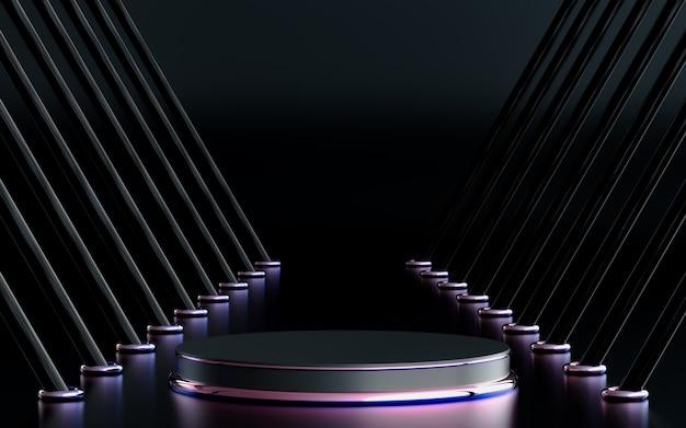 Sfondo viola forma geometrica astratta con palco podio rendering 3d per la presentazione del prodotto