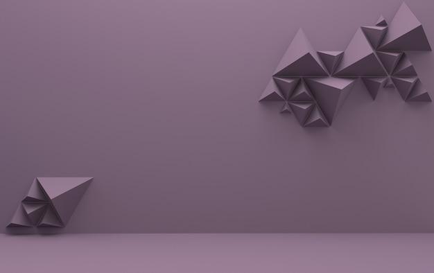Sfondo viola con piramidi triangolari, rendering 3d