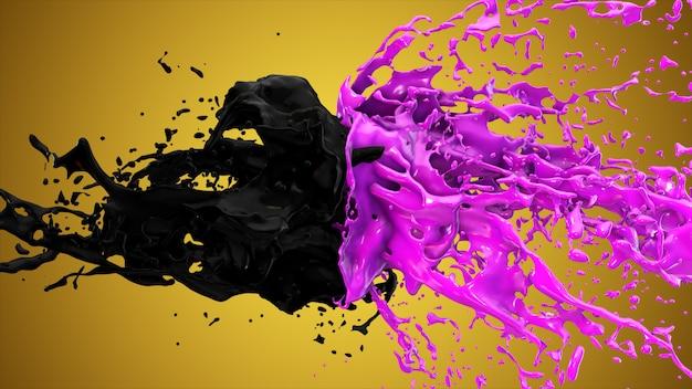 I liquidi viola e neri si scontrano, le gocce schizzano ai lati.