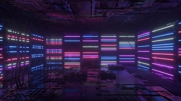 Lo sfondo al neon viola e blu appare e scompare