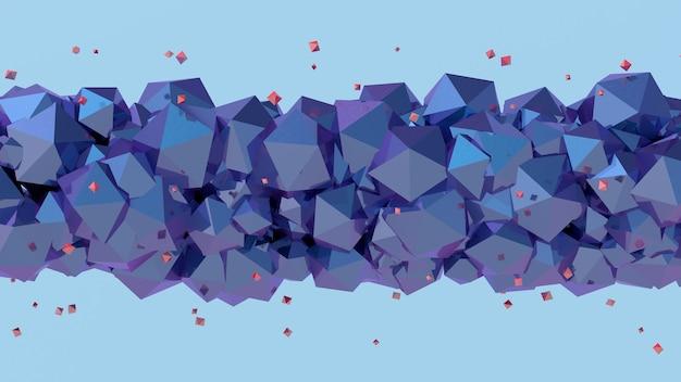 Poliedri viola e blu, particelle rosse, sfondo blu. illustrazione astratta, rendering 3d.