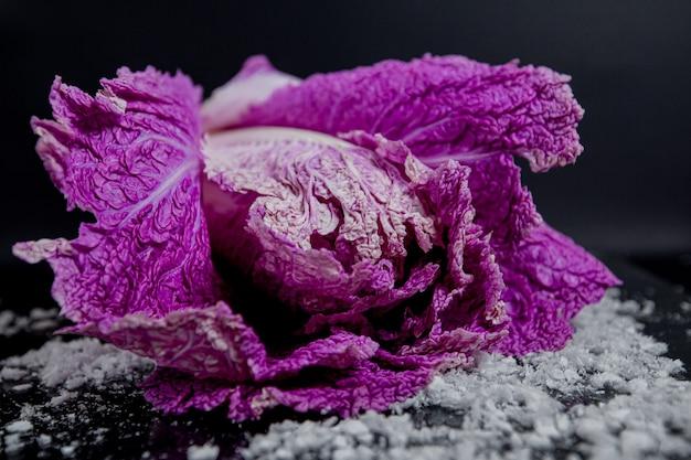 Cavolo cinese viola su sfondo nero