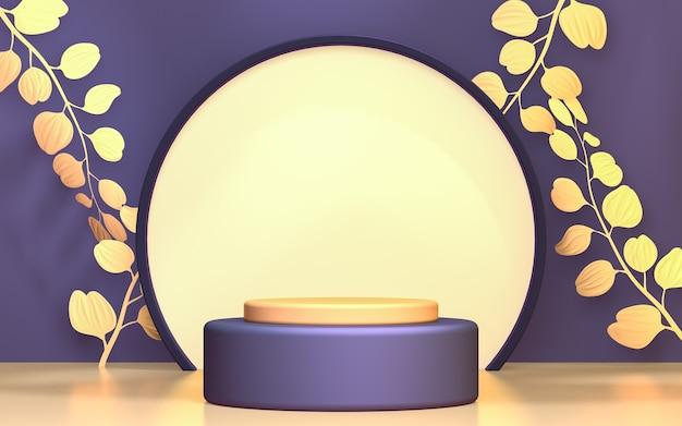 Il cerchio viola e il podio in foglia d'oro mostrano lo sfondo della fase del prodotto 3d rendono la piattaforma astratta
