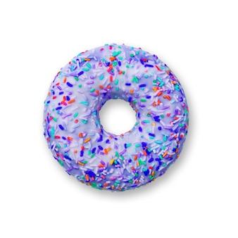 Ciambella di colore viola su sfondo bianco, dessert. vista dall'alto di ciambella di pasticceria dolce, cibo spazzatura, cibo di conforto