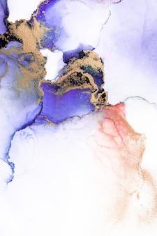 Fondo astratto dell'oro viola della pittura di arte dell'inchiostro liquido di marmo su carta.
