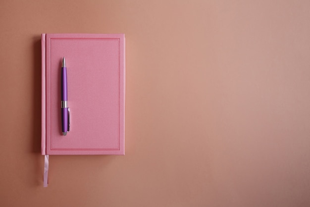 Penna in metallo viola su taccuino o diario rosa, su carta rosa
