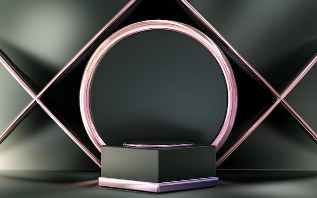 Display podio metallico viola con forma geometrica astratta per il rendering 3d della presentazione del prodotto
