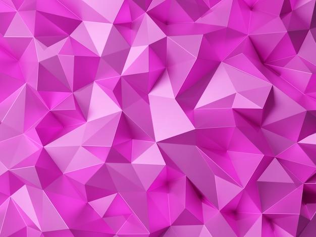Modello astratto poligono 3d viola, rosa, rendering 3d