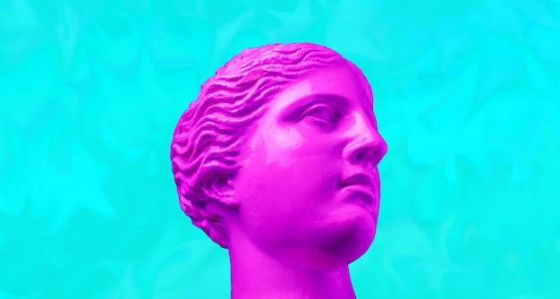 Viola rosa antico testa scultura su uno sfondo luminoso retrò vaporwave. collage di arte contemporanea. concetto di poster in stile onda retrò.