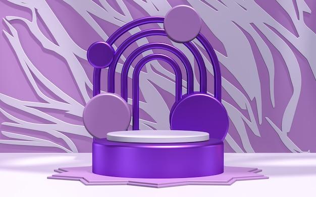 Porpora esposizione del podio fondo astratto 3d che rende la fase del prodotto piattaforma circolare realistica