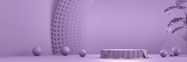 Piattaforma podio fase prodotto viola per rendering 3d sfondo prodotto presente