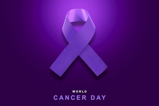 Nastri viola su uno sfondo colorato. concetto di giornata mondiale contro il cancro