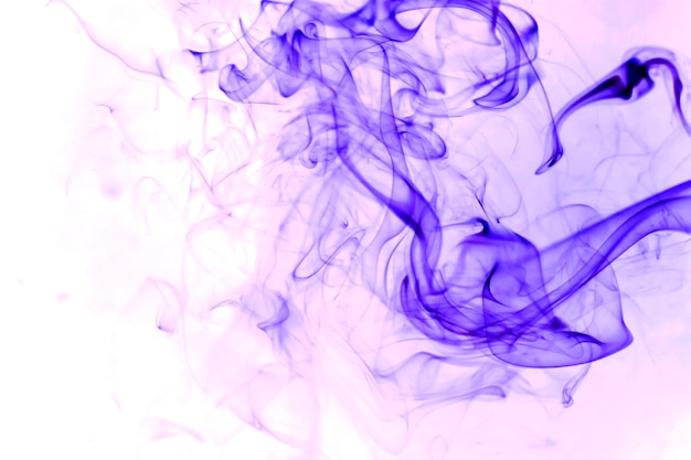 Fumo viola su sfondo bianco.