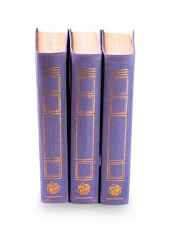 Viola tre vecchi libri in piedi isolati verticalmente
