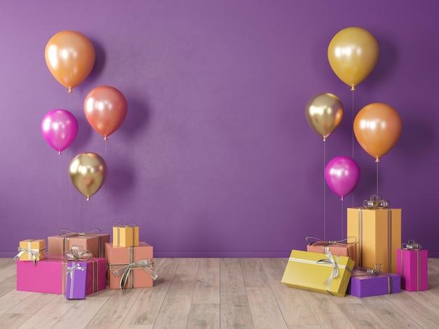 Viola, muro bianco ultravioletto, interni colorati con regali, regali, palloncini per feste, compleanni, eventi. 3d render illustrazione, mockup.