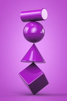 Sistema instabile viola fatto di figure geometriche su sfondo viola