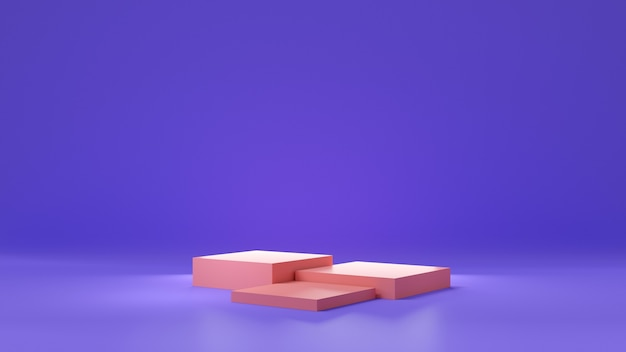 Studio sfumato viola o viola e piedistallo rosa per scaffale del prodotto. interior design della stanza vuota con podio per la pubblicità. rendering 3d.