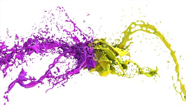 Il liquido viola e giallo si scontrano, le gocce schizzano ai lati su uno sfondo bianco isolato