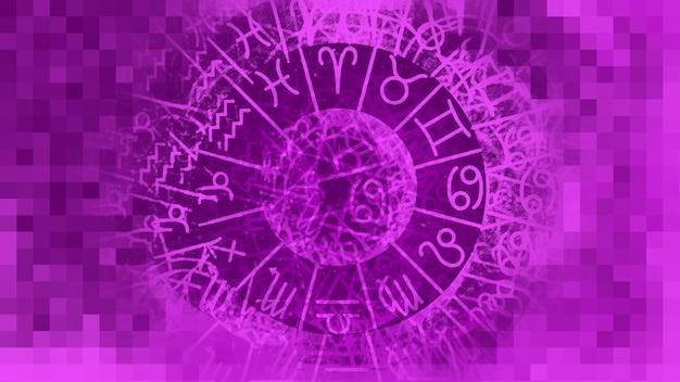 Viola zodiac astrologia oroscopo pattern texture di sfondo , graphic design