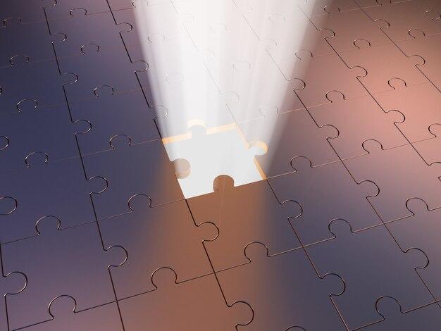 Puzzle e volume leggero. illustrazione 3d