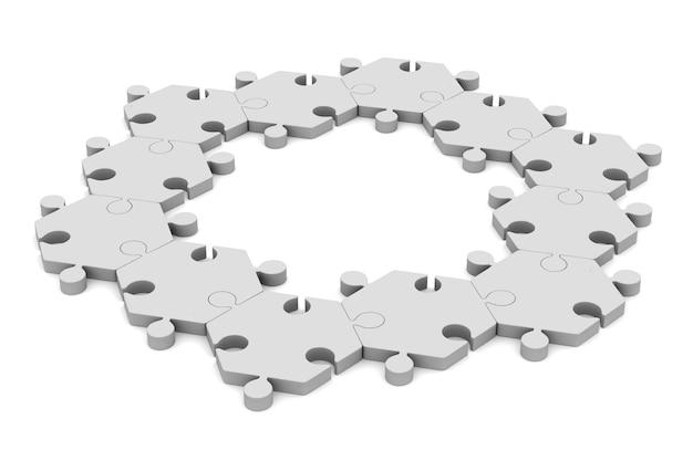 Puzzle su sfondo bianco. illustrazione 3d isolata