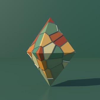 Piramide con superficie colorata sfondo verde illustrazione astratta