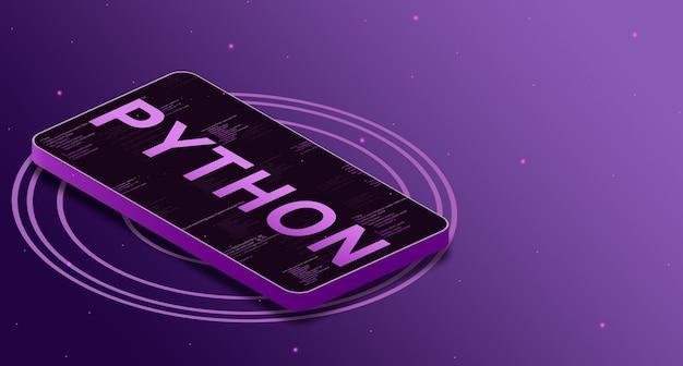 Linguaggio di programmazione python sullo schermo del telefono con elementi di codice, linguaggio digitale 3d
