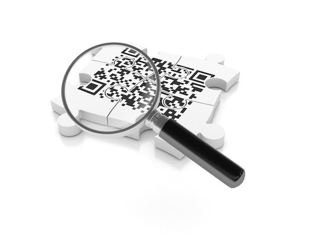 Codice qr su puzzle con lente di ingrandimento