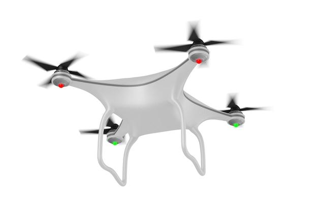 Quadrocopter su bianco. illustrazione 3d isolata