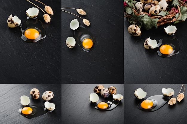 Uova di quaglia su sfondo nero. nido di uova. collage di foto impostate.