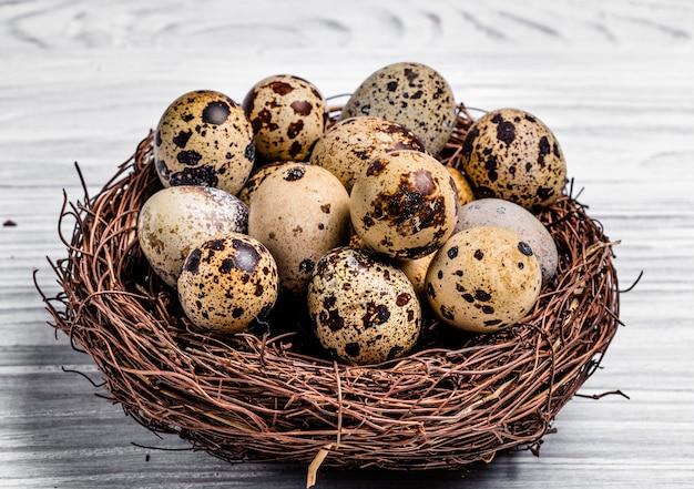 Uova di quaglia in un nido fatto di rami su fondo di legno bianco