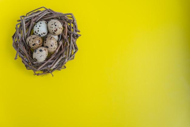Nido di quaglie con uova su sfondo giallo. posa piatta con copia spazio per cartoline e design