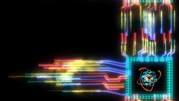 Computer quantistico nucleo atomico chip tecnologia futuristica dimensione strato digitale processo olografico e analisi per big data e sfondo astratto poligono zona arancione