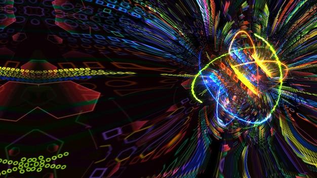 Quantum magnitic nucleo azzurro e animazione futuristica al computer sfondo astratto con infinito di natura verde fuoco arancione e atomo di energia tuono blu in movimento