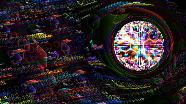 Nucleo azzurro di gravità massiccia quantistica e fondo astratto di animazione futuristica al computer con infinito di natura verde fuoco arancione e atomo di energia tuono blu in movimento