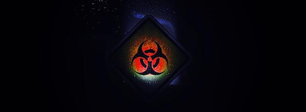 Quarantena. segnale di avvertimento di quarantena su una porta di vetro in un isolatore ospedaliero. isolamento dei pazienti con il virus in laboratori speciali. virus.