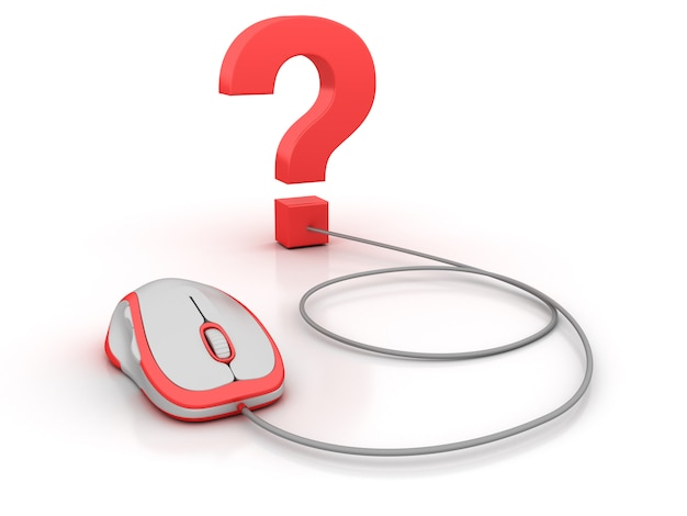 Punto interrogativo e mouse del computer