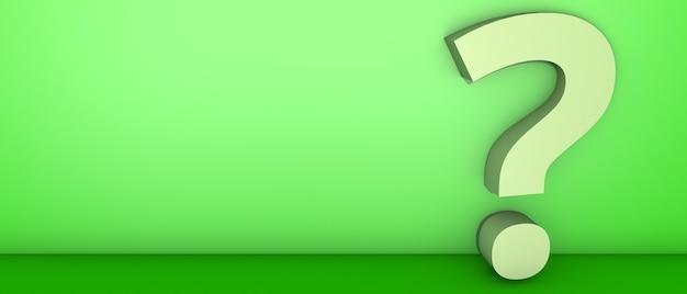 Punto interrogativo sul verde. illustrazione 3d.