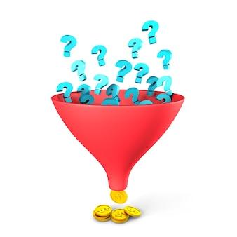 Il punto interrogativo viene convertito attraverso l'imbuto di vendita in denaro, la risoluzione dei problemi porta denaro