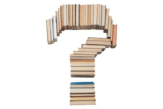 Punto interrogativo fatto di libri isolati su bianco