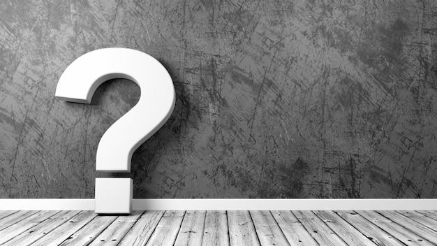Punto interrogativo nella stanza sul pavimento di legno contro il muro