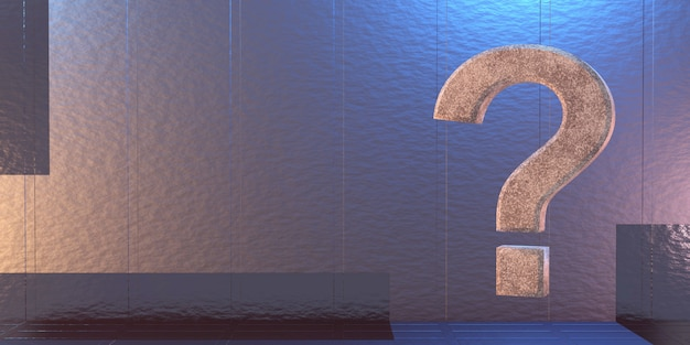 Punto interrogativo su uno sfondo di fantascienza, rendering 3d