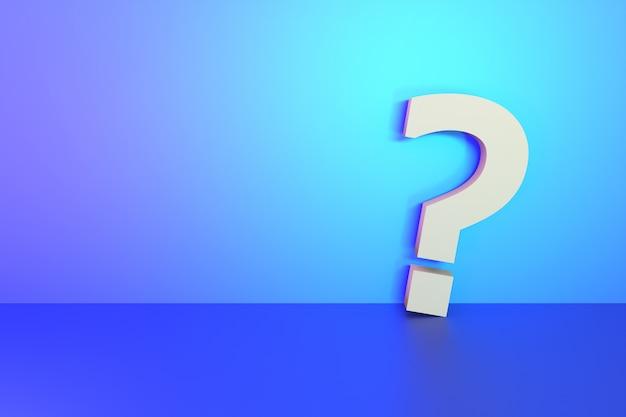 Segno del punto interrogativo sul fondo leggero vibrante in bianco della parete per progettazione