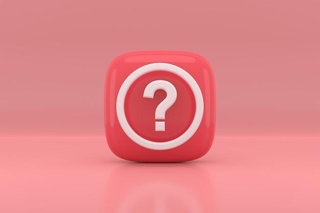 Disegno dell'icona del segno di punto interrogativo. rendering 3d.