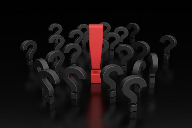 Segni del punto interrogativo e punto esclamativo. rendering 3d.